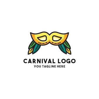 Vetor de logotipo de carnaval com férias de estilo de conceito de máscara