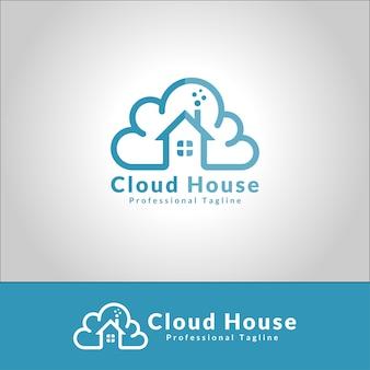 Vetor de logotipo de casa de nuvem