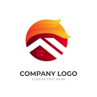 Vetor de logotipo de casa e sol com estilo 3d de cores vermelho e laranja