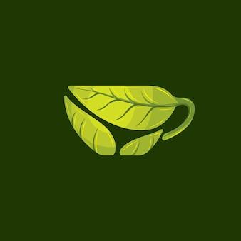 Vetor de logotipo de chá verde fresco
