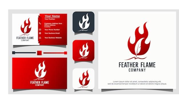 Vetor de logotipo de chama de fogo de caneta de pena