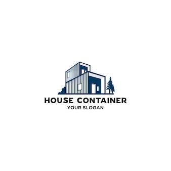 Vetor de logotipo de contêiner de casa simples