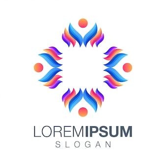 Vetor de logotipo de cor de pessoas