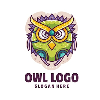 Vetor de logotipo de desenho animado de ciborgue de coruja