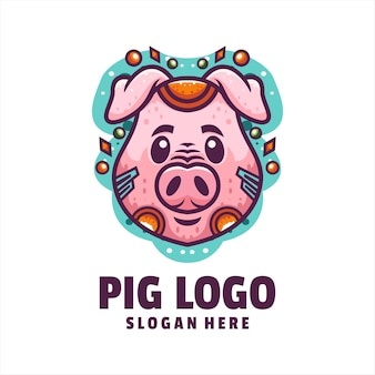 Vetor de logotipo de desenho animado de ciborgue de porco