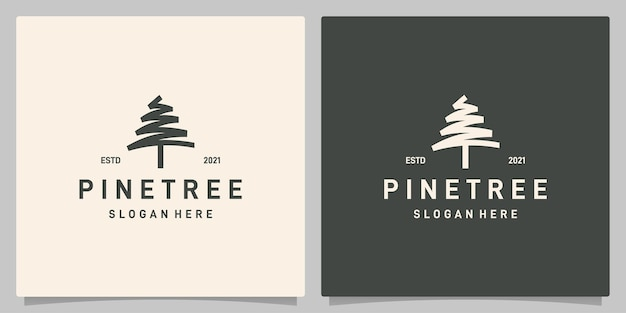 Vetor de logotipo de design de pinheiro vintage, inspiração de design de logotipo evergreen. vetor premium