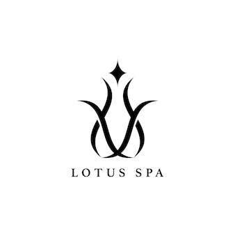 Vetor de logotipo de design de spa de lótus