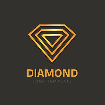 Vetor de logotipo de diamante ou logotipo de joia dourada