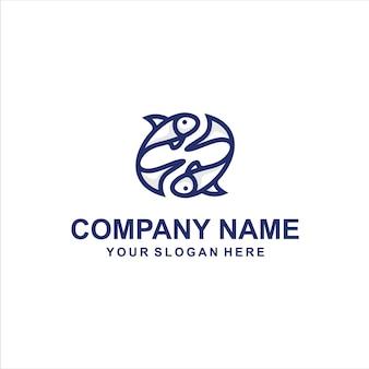 Vetor de logotipo de dois peixes