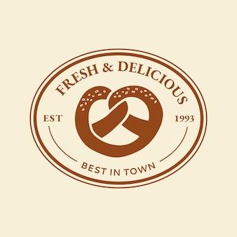 Vetor de logotipo de empresa de padaria em estilo doodle fofo