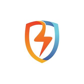 Vetor de logotipo de escudo trovão