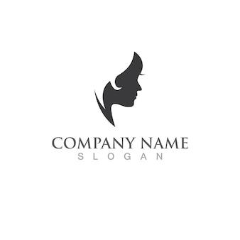 Vetor de logotipo de estilo de cabelo feminino