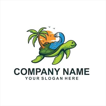 Vetor de logotipo de férias de tartarugas de praia