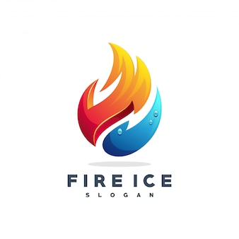 Vetor de logotipo de fogo e água