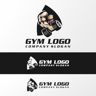 Vetor de logotipo de ginásio fitnes, ilustração, modelo