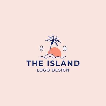 Vetor de logotipo de ilha de praia de viagens com palmeira acima das ondas