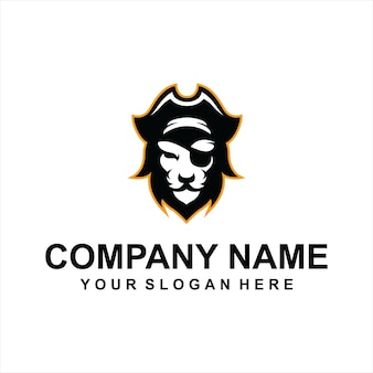 Vetor de logotipo de leão pirata
