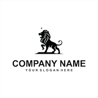 Vetor de logotipo de leão preto