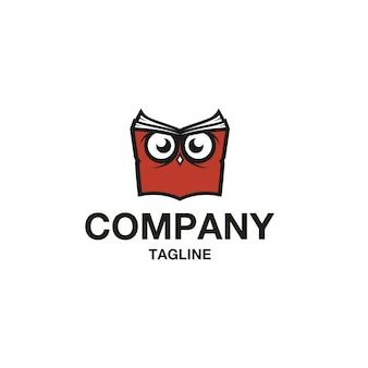 Vetor de logotipo de livro de coruja