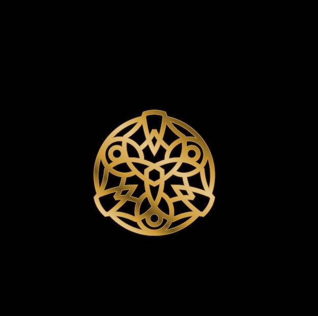 Vetor de logotipo de luxo de mandala dourada