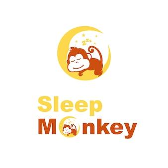 Vetor de logotipo de macaco de sono