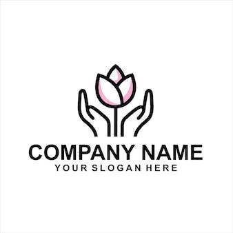 Vetor de logotipo de mão de flor