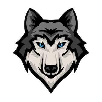 Vetor de logotipo de mascote de cabeça de lobo