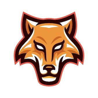 Vetor de logotipo de mascote de cabeça de lobos