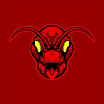 Vetor de logotipo de mascote de jogo e esporte premium de cabeça de formiga