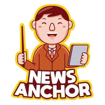 Vetor de logotipo de mascote de profissão âncora de notícias em estilo desenho animado