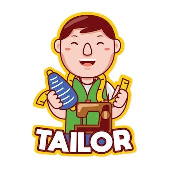 Vetor de logotipo de mascote de profissão de alfaiate em estilo desenho animado