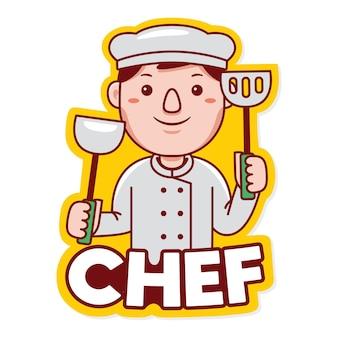 Vetor de logotipo de mascote de profissão de chef em estilo desenho animado