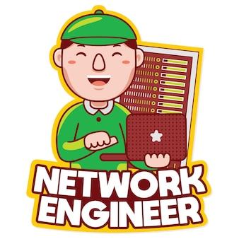 Vetor de logotipo de mascote de profissão de engenheiro de rede em estilo desenho animado
