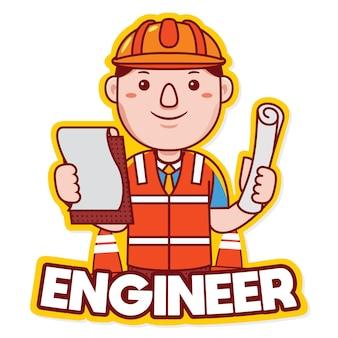 Vetor de logotipo de mascote de profissão de engenheiro em estilo desenho animado