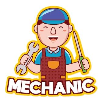 Vetor de logotipo de mascote de profissão de mecânico trabalhador em estilo cartoon