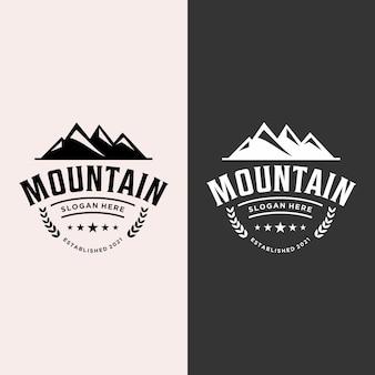 Vetor de logotipo de montanha de restaurante retrô e elegante