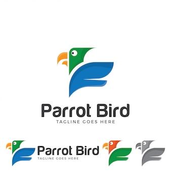 Vetor de logotipo de pássaro papagaio tropical.