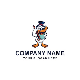 Vetor de logotipo de pato dos desenhos animados