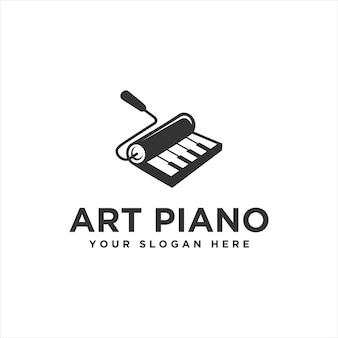 Vetor de logotipo de piano de arte