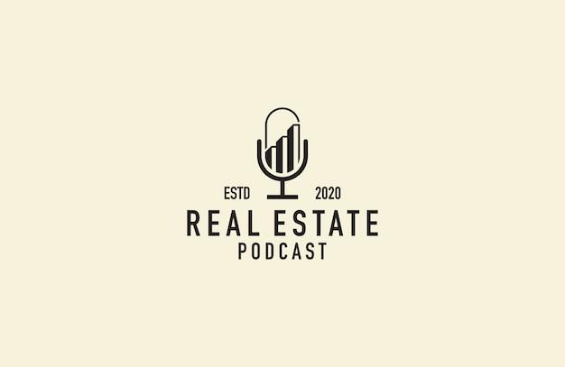 Vetor de logotipo de podcast imobiliário