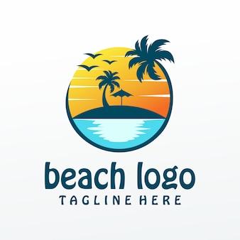 Vetor de logotipo de praia, modelo, ilustração,