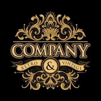 Vetor de logotipo de rótulo vintage de círculo único de cor dourada