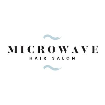 Vetor de logotipo de salão de cabelo de microondas