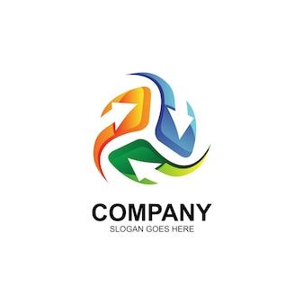 Vetor de logotipo de setas circulares
