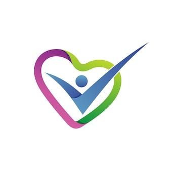 Vetor de logotipo do amor forma cuidados de saúde