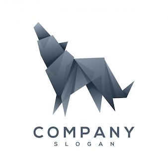 Vetor de logotipo do cão origami estilo
