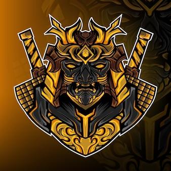 Vetor de logotipo do mascote de jogo do exército de samurai oni
