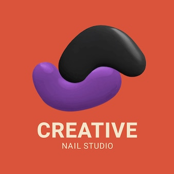 Vetor de logotipo editável de tinta colorida para estúdios de manicure criativos