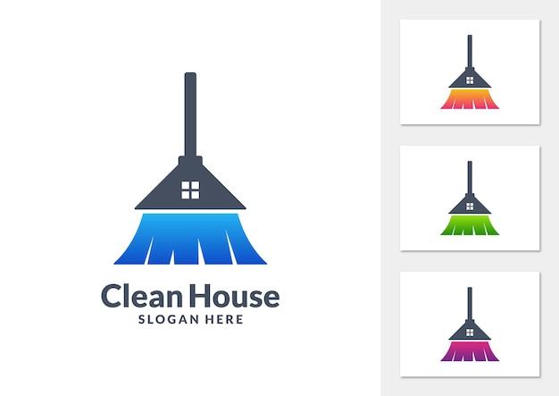 Vetor de logotipo gradiente de casa limpa