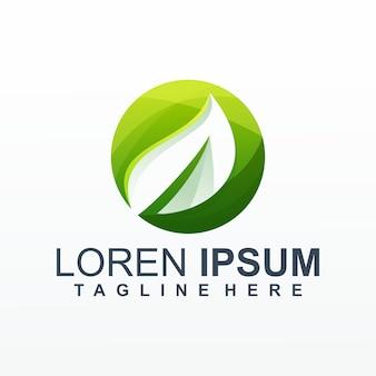 Vetor de logotipo gradiente de folha